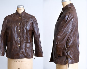 1970s Leather Jacket Lace Up Side Chocolate Brown High Collar Moto Jacket