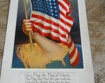 Antique Patriotic Postcard - Our Flag - American Flag