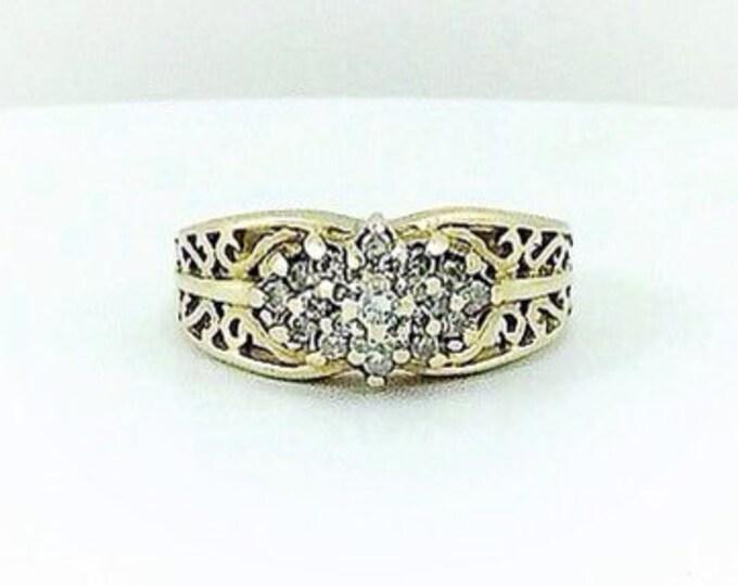 Ladies Vintage Solid 10k gold engagement ring.Diamond and gold ring.Diamond Wedding Rings. Diamond Estate rings.