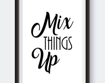 Mix Things Up Digital Print Kitchen Prints Baking Art Black And White