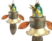 vintage tin songbird, mixed media assemblage art doll, bird ornament, anthropomorphic art, by Elizabeth Rosen