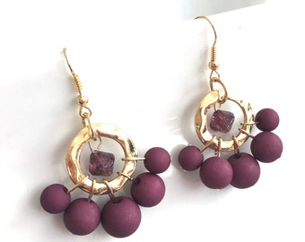 Ultra Violet Earrings, Plum Earrings, Darling Plum Dangles, Gold and Plum, Plum Bridesmaid Earrings