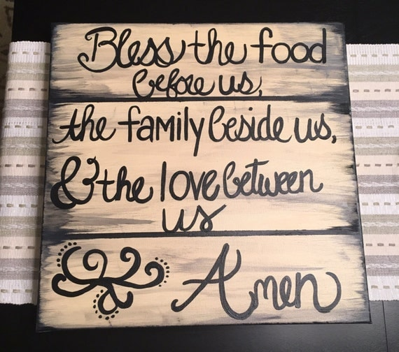 Kitchen Blessing Wall Decor: Canvas Kitchen Art Dinner Blessings Rustic Wooden Bless The