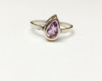 Amethyst  Ring Size 9., Sterling Silver, Pear Cut, February birthstone, Pre Holiday Sale, Item No. S396