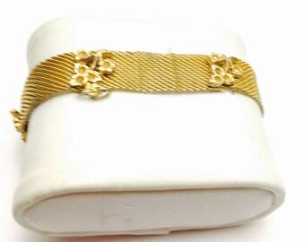 Mesh Cuff Bracelet, Vintage, Gold Tone, Floral Design, Clearance Sale, Item No. B436