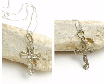 Vintage Silver Crucifix Pendant, Matching Necklace, stamped .925, Clearance S A L E, Item No. E208
