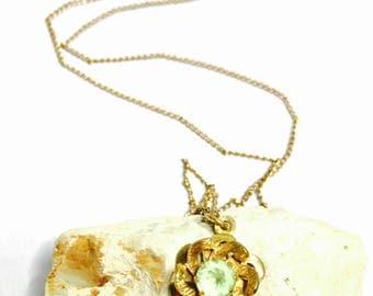 14KGF Flower Pendant/Necklace, Vintage, peridot, clearance sale, Item No. S081