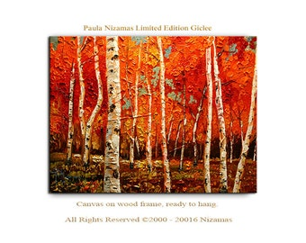 Wall Art Birch Trees in Red Giclee PRINT on Canvas ready to hang Home Decor Picture landscape