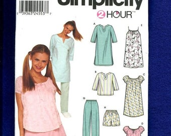 15% OFF SPRING SALE Simplicity 9505 Summer Pajamas & Nightshirts  Size Sx..S..M Uncut
