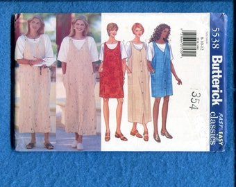 Butterick 5538 Super Easy Fitting Jumpers with Round & V Necklines Size 8..10..12 UNCUT