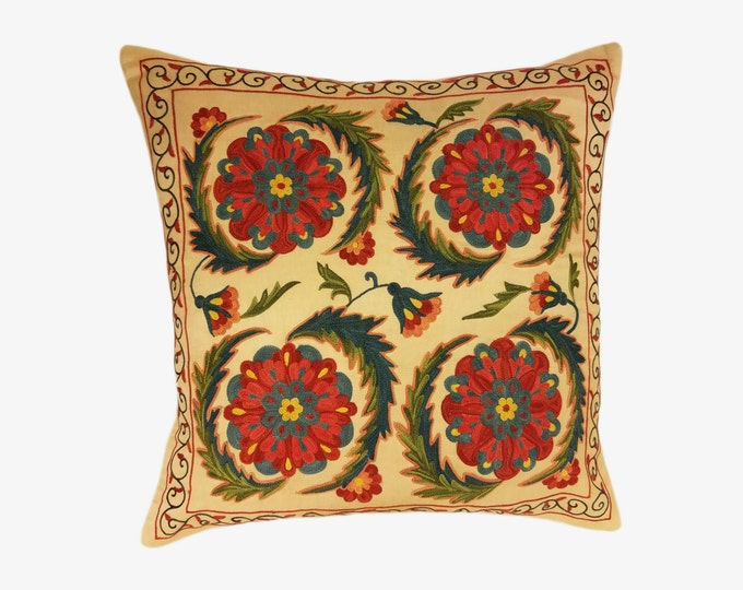 Handmade Suzani Pillow Cover msp12-35, Suzani Pillow, Uzbek Suzani, Suzani Throw, Boho Pillow, Suzani, Decorative pillows, Accent pillows