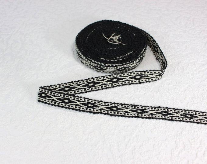 Woven Trim (6 yards), Woven Border, Cotton Ribbon, Grosgrain Ribbon, Dress Border, Border Trim, R194