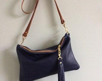 Navy blue leather handbag, simple black purse, leather evening bag, leather crossbody purse