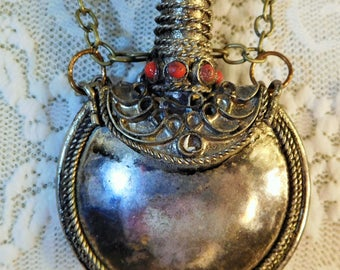 Necklace, Moroccan Vintage Metal Battle w/Top,Circle Bottle,Top has Gem, Wire Wrapped Top wSmall Stones,Filigree Wire,RustedSilkReloaded