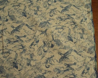 Cloth Dinner Napkins, birds in blue on White fabric, luncheon napkins, Christmas gift