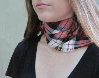 Red Bandana Scarf, Flannel Bandana, Plaid Bandana, Neck Scarf, Scarf, Gift for Girlfriend, Fringe Scarf, Holiday Gift, Ready to Ship