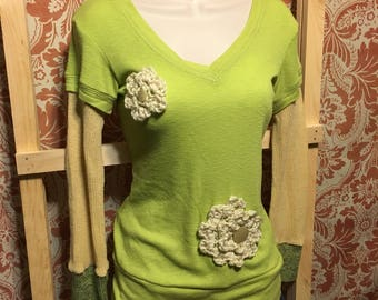 Upcycled Green Top w/ Sweater Sleeves