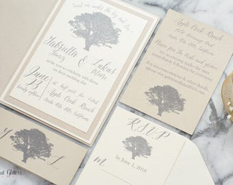 Oak Tree Wedding Invitations, Rustic Wedding Invitation Set, Wedding  Invitation With Trees, Champagne