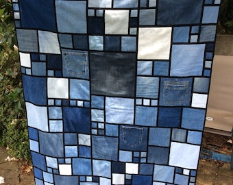Denim squares quilt, upcycled jeans