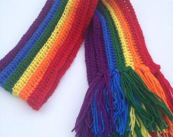 Handmade Crochet Rainbow Scarf gift under 30 as seen on Blackish