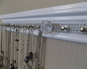 16 PEGS!  Plenty of bling 26 inches  white jewelry holder  for hangs multiple necklaces and rings with  Glass rose knob