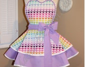 Custom Listing For Vallene...Rainbow Hearts Print Woman's Retro Apron Accented With Lavender, Featuring Heart Shaped Bib