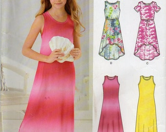 Sleeveless Knit Dress With Optional Racerback With Bow High Low Hem Girl's Age 8 10 12 14 16 Sewing Pattern For Stretch Knits New Look 6297