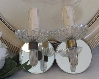 Vintage French pair of mirror and glass wall lights, appliques.  Frenchy chic!
