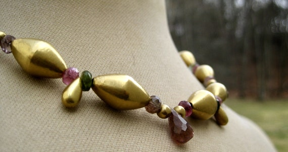 GITA   18k Gold Drops, Spheres, Bicone & Multicolored Tourmaline Necklace