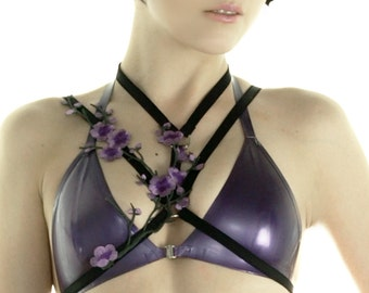 SAKURA lace body harness frame bra black purple
