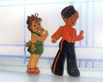Vintage Art Deco Wooden Wall Plaques Pair 1930s Bell Hop and Girl