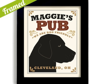 Bar Art Labrador Retriever Art Black Dog Art Print Labrador Art Personalized Dog Art Black Lab Pub Decor Dogs Name Art Custom Dog Art