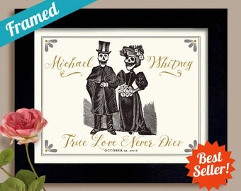 Halloween Gift for Couple Wedding Gift Goth Couple Personalized Art Tombstone Newlywed Gift Tattoo Couple Framed Art Print Anniversary Gift