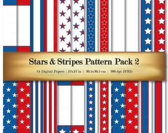 Digital Scrapbook Paper Stars & Stripes Digital Scrapbooking Paper 24 Variety Red White Blue Color Patterns Backgrounds - Commercial Use OK