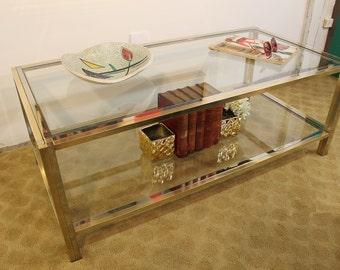 Mid Century Modern, vintage brass, chrome and glass coffee table Romeo Rega style