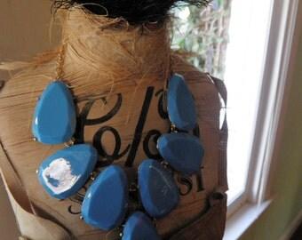 Chunky Bold Blue Necklace.