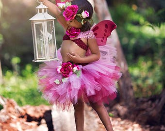 Fairy Costume - Baby Fairy Dress - Woodland Fairy - Rose Fairy Outfit - Fairy wings - Fairy Tutu Dress - Fairy Crown