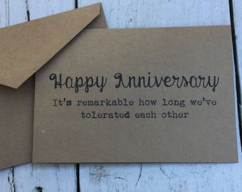 Happy anniversary, tolerate, Funny card, naughty cards, inappropriate humor, witty cards, sarcastic cards, for him, for her, husband, wife,