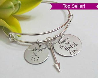 There is no finish line//Bangle bracelet//weight watchers//Just do it//inspirational gifts//fitness gifts