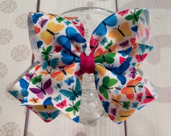 Butterfly hair bow, butterfly hair clip, turquoise bow, pink bow, orange, blue, green butterfly bow