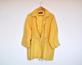 Vintage Yellow Oversized Zipper Raincoat Windbreaker Spring Coat Parka Jacket