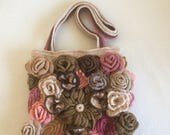 ON SALE - 10% OFF Free Form Crochet  Roses Art Pouch