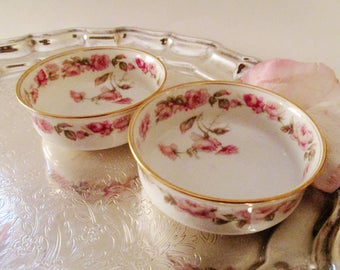 Haviland Limoges The Amstel Nut Bowls, Haviland & Co, Two Fruit Bowls, French Floral, Porcelain Pink Roses, Romantic Decor, Trinket Dishes
