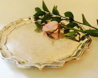 Reed & Barton Chippendale Tray, Silver Tray, Round Serving Tray, Vintage Silver Tray, Wedding Silver
