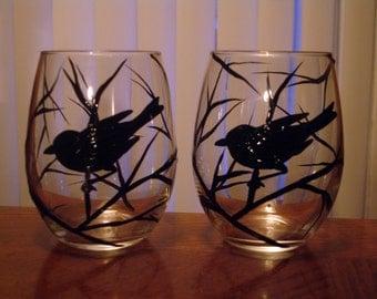 Hand painted bird juice/wine glass