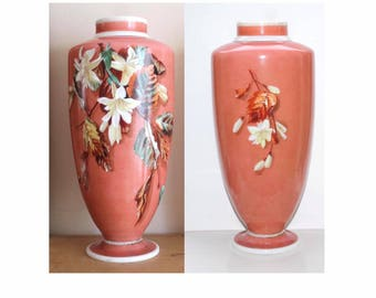 Antique Bohemian glass vase. Harrach hand enameled vase, numbered. Victorian cased glass vase