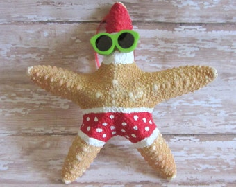 Beach Christmas Ornament - Beach Decor Starfish Christmas Ornament -  Santa Ornament - FEATURED on ArtHobbyCraft - Nautical Ornament