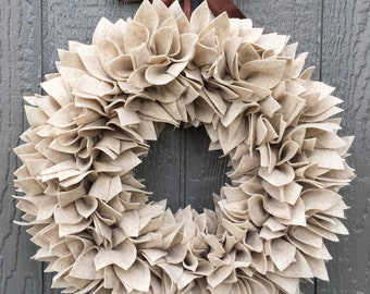Beige Wreath - Felt Wreath - Rag Wreath - Large Wreath - Tan Wreath - Thanksgiving Wreath - Winter Wreath - Fall Wreath - Neutral Wreath