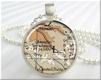 Aspen Map Pendant, Resin Charm, Aspen Colorado Ski Resort, Map Necklace, Picture Jewelry, Round Silver, Aspen Gift, Gift Under 20 (742RS)
