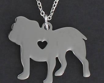 Bulldog Silhouette Necklace - Tiny Heart Cutout Large Stainless Charm on a FREE Plated Chain